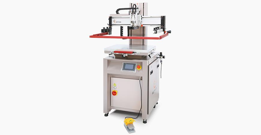 小型电动式网印机,气压消耗量少,网版垂直升降,定位精准,数控人机介面