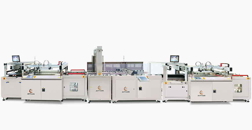 Combine A side legend screen printer + auto turn over + B side solder mask screen printer, wicket dryer is connected behind to become automatic production process line