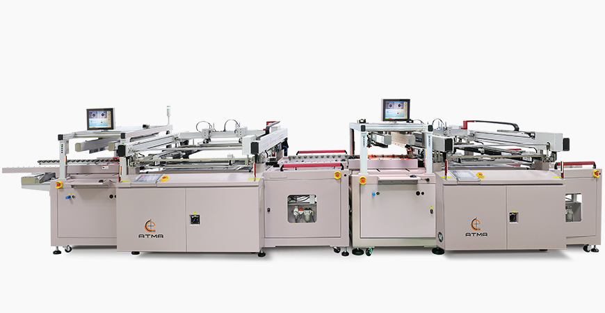 Combined C side Solder Mask Screen Printer + Accumulator + Automatic Turn Over + S side Solder Mask Screen Printer, connected with Wicket Dryer inline process.