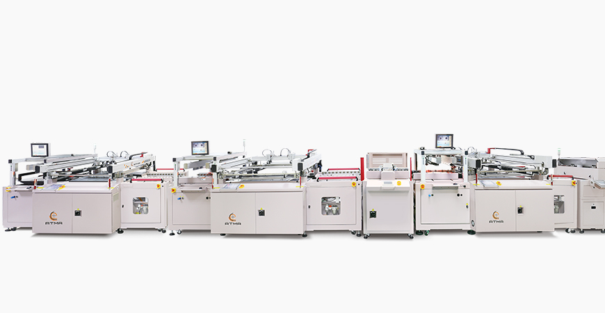 Incorporated with automatic plug-via + buffer stacker + C side solder mask screen printer + buffer stacker + automatic positioning turn over + S side solder mask screen printer, connecting with wicket dryer inline process printing line