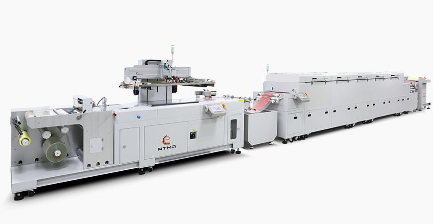 Combinato con svolgitore + sensore di registrazione serigrafia + essiccatore composto (IR + aria calda) + avvolgitore automatico, collegato alla linea di stampa automatica.