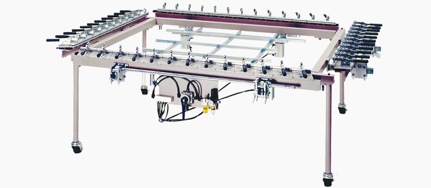 Máy kéo vải màn hình cơ khí, để kéo căng vải màn hình để làm khuôn in lụa.