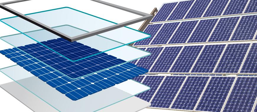 Фотоелектричне скло складається з низького заліза і використовується для інкапсулювання кремнієвих пластин