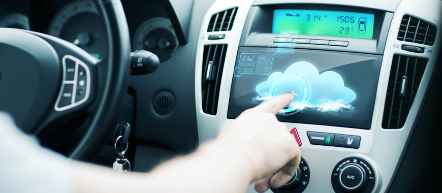 印刷黑矩阵,IR在汽车展示玻璃面板上。