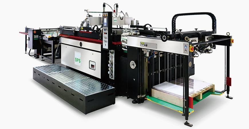 SPS VTS SL71 / t Fullautomatisk dubbelflöde STOPP Cylinder Screen Printing Machine (4-stolps skärmlyft typ flaggskeppsmodell), kopplad till dubbelflödesmatare