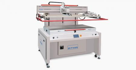 Electric Flat Screen Printer (medium size 700x1200 mm) - Electric vertical up down design (patented), fast motion and precise positioning, repeatability printing accuracy ±0.02mm, extreme low air exhaustion and save energy environmental protection.