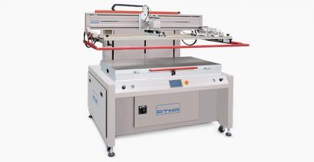 Електричний принтер з плоским екраном (середній розмір 700x1200 мм) - Електрична вертикальна конструкція вгору вниз (запатентована), швидкий рух і точне позиціонування, точність друку повторюваності ± 0,02 мм, надзвичайно низьке вичерпання повітря та економія енергії.