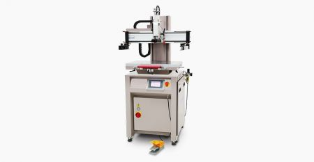Pneumatic Mini Flat Screen Printer (max printing area = 200 x 250 mm) - This model is suitable for small size with diverse flat material or molding item screen printing, flexibility and light weight, easy operation.