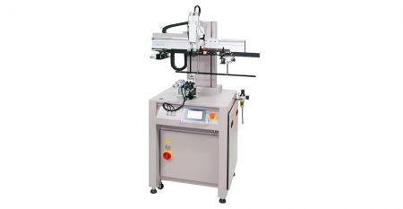 Pneumoelectric Mini Curve Screen Printer - This model is suitable for screen printing on various materials (as plastic, acrylic, metal, glass) of conical, oval, cylindrical shaped like bottle, mug, can, tube, etc.