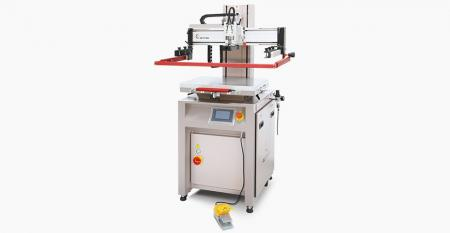 Elektryczna mini drukarka płaskoekranowa (maksymalny obszar drukowania 200x250 mm) - Elektryczna minidrukarka z płaskim ekranem, niskie zużycie sprężonego powietrza, ekran pionowy góra-dół w celu uzyskania precyzyjnego pozycjonowania, sterowanie cyfrowe HMI