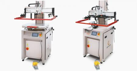 Electric Mini Flat / Curve Screen Printer - Electric mini flat / curve screen printer, low exhaustion of air pressure, screen vertical up down fast, precise positioning.