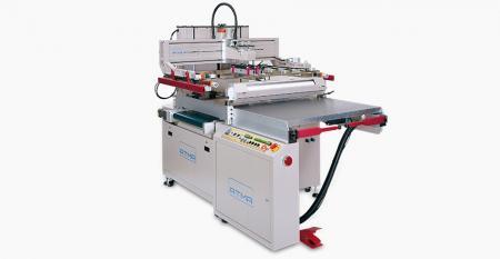 电动滑动台平面屏风打印机采用夹具起飞 - 电动垂直上下设计,与安全缓冲缸(专利)并置,滑动桌带汽车夹具起飞以提高生产效率