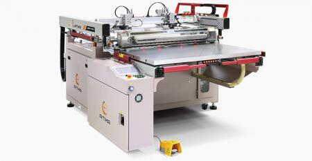 Four-post Screen Printer with Gripper Take-off - Digital control preset printing parameters, servo motor driven printing stroke with equalized air pressure and synchronous peel-off to prevent sticky mesh, auto gripper take-0ff to raise productivity.