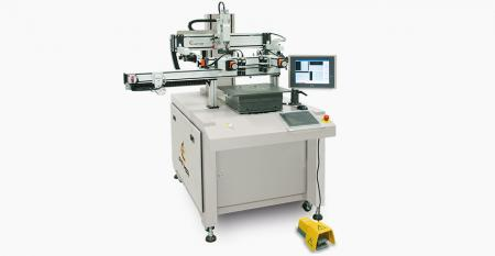 CCD Centered Registering Screen Printer for Tablet Cover Lens (max printing area 300 x 200 mm) - Use CCD camera to capture image of tablet glass without registration mark to carry out centered printing, registration accuracy achieves ±5µm