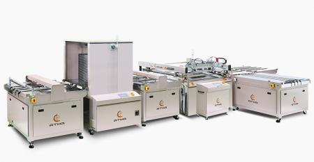 Fully Automatic Cooktop Glass Screen Printing Line (max printing area 700 x 1000 mm) - Get thru fully automatic station to transfer workflow, reduce numerous manpower of transportation, raise full line production efficiency