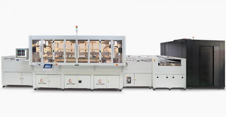 全自动CCD定位导电玻璃丝印线-实现多种触摸屏产品开发,提供大幅面印刷切割成各种理想尺寸的解决方案,瞬间实现定制生产目标