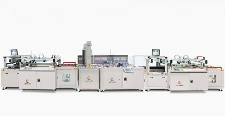 全自動電路板雙面文字網印生產線 - 結合A面文字網印機+自動翻面機+B面防焊網印機,後接吊掛式乾燥爐,串接成自動生產線。
