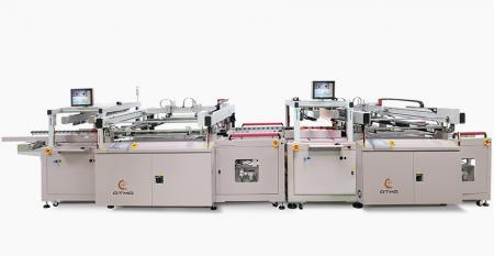 全自動電路板雙面防焊網印生產線 - 結合C面防焊網印機+自動翻面機+S面防焊網印機,後接吊掛式乾燥爐,串接成自動生產線。