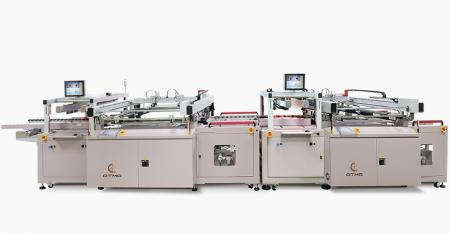 Fully Automatic PCB Double Sided Solder Mask Screen Printing Line - Combined C side Solder Mask Screen Printer + Accumulator + Automatic Turn Over + S side Solder Mask Screen Printer, connected with Wicket Dryer inline process.