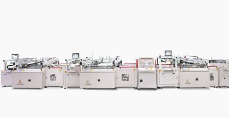 Linie de serigrafie complet automată pentru conectarea PCB-ului prin mască de lipit - Incorporat cu conectare automată + stivuitor tampon + imprimantă ecran mască de lipit lateral C + stivuitor tampon + poziționare automată răsucire + imprimantă ecran mască de lipit lateral S, conectare cu uscător de ghișe linie de imprimare proces în linie