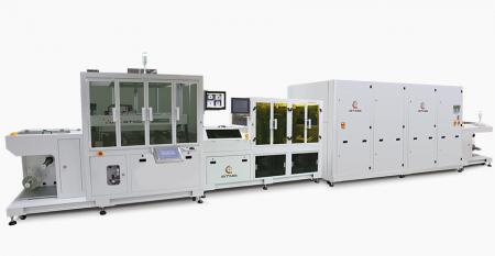 全自動卷對卷網印生產線 - 結合放捲機+CCD對位網印機+影像檢視機+卷對卷靜置機+紅外線熱風乾燥爐+自動收捲機,串接成整捲自動生產線。
