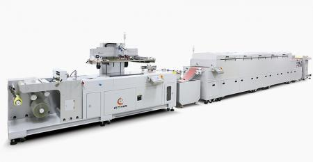 Fully Automatic Roll-to-Roll Screen Printing Line - Combined with unwinder + sensor registering screen printe + composed dryer (IR + hot air) + auto winder, connected into automatic printing line.