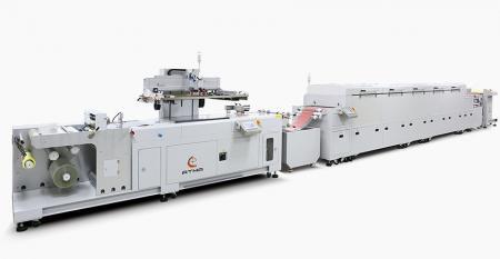 全自动传感器对卷丝印线-由退卷机+传感器对卷丝印+组合烘干机(IR +热风)+自动收卷机组合而成,连接到自动印刷线。