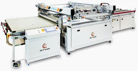 Light Guided Panel High Precision Screen Printer (max printing area 850 x 1450 mm) - After printing accomplishment, fork carrier directly implements auto offloading function, reduce human contact substrate and raise yield rate efficiency