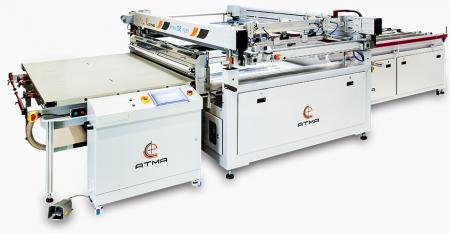 Light Guided Panel High Precision Screen Printer (max printing area 1120  x 1992 mm) - After printing accomplishment, fork carrier directly implements auto offloading function, reduce human contact substrate and raise yield rate efficiency.