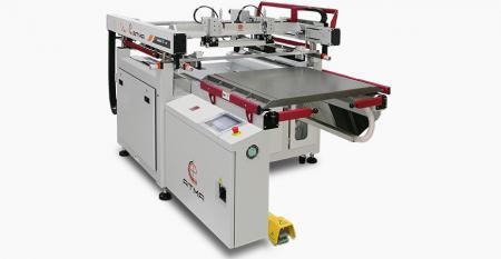 光電気高精度スクリーン印刷機(中型600x700 mm) - 4ポスト構造により、スクリーンの高さの一貫性が保証されます。スライドテーブルの設計により、操作スペースが最大化され、操作領域が保護されます。