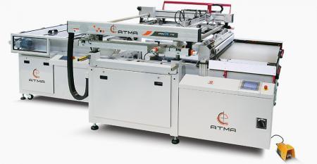 光電気高精度スクリーン印刷機(大型サイズ700x1000 mm) - 4ポスト構造の機能により、画面の高さの一貫性が確保されます。スライドテーブルの設計により、操作スペースが最大化され、操作領域が保護されます。