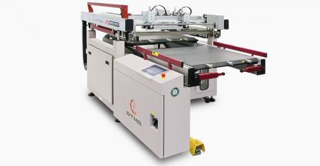 Máy in màn hình nhúng ướt bàn đôi chính xác - Bàn đôi trao đổi vào và ra, một mặt đang được in, một mặt khác được tháo ra và nạp để khớp hoàn hảo để đạt được yêu cầu sản xuất nhanh