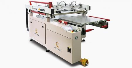 双床湿膜插入式插件屏幕打印机 - 双台互换进出,一张桌子在打印位置,另一台替换/装载匹配完美,实现快速生产要求。