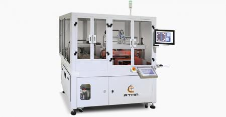 Automatic CCD Registering Cover Lens Screen Printer (Tray Carrier) - Twin sliding table reciprocates in and outward interchange, attains the goal of fast production capacityCCD registering captures cover lens without registration mark, accuracy achieves ±5µm to implement centered printing accuracy.