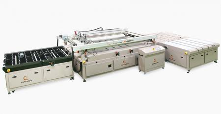 Automatic Automotive Front / Back Windshield Screen Printer - Belt transport substrate, distinctly control heavy and light air pressure for registration pins, precise control registration accuracy, nesting bar is added at bilateral side.