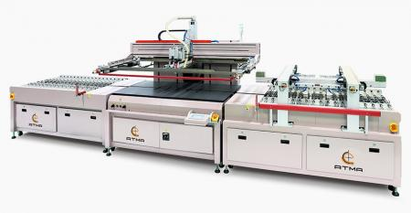 Automatic High Speed Screen Printer for Automotive Triangle Lateral Window - Automotive Skylight, Full View Skylight, Appliance Glass Fully Automatic Printing Line, which is fast production tool.