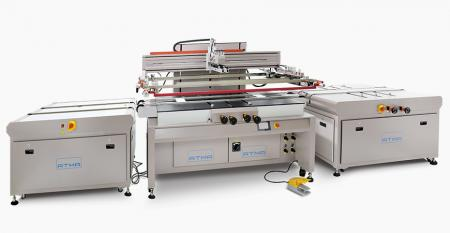 Automatic Home Appliance Glass Screen Printer - Conveyor belts transfer glass panel, separately control strong or weak air pressure of registration pins, precise control registration accuracy, nesting bar is added at bilateral side to compensate substrate height for smooth printing