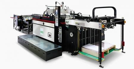 SPS  Fully Automatic Twin-flow STOP Cylinder Screen Printing Machine (max. sheet: twin-flow 520X500mm, single-flow 750X1060mm, 4-post screen lift, flagship model) - SPS  VTS SL71/t Fully Automatic Twin-flow STOP Cylinder Screen Printing Machine (4-post screen lift type-flagship model), linked with twin-flow Feeder