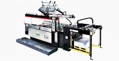 SPS®  Fully Automatic STOP Cylinder Screen Printing Press - SPS®  VTS SL71 Fully Automatic STOP Cylinder Screen Printing Press (4-post screen lift type—flag-ship type), linked with Feeder
