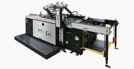 SPS全自动滚筒丝印机。SPS VTS XP71全自动停止滚筒丝印机(倾斜筛网提升式,经典经济舱),与给料机相连