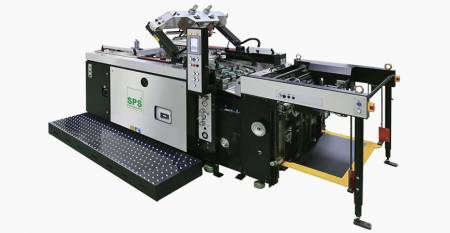 SPS  Fully Automatic STOP Cylinder Screen Printing Machine max. sheet 750X1060mm, tilt screen lift, classic economy class) - SPS VTS XP71 Fully Automatic STOP Cylinder Screen Printing Machine (tilt screen lift type, classic economy class), linked with Feeder