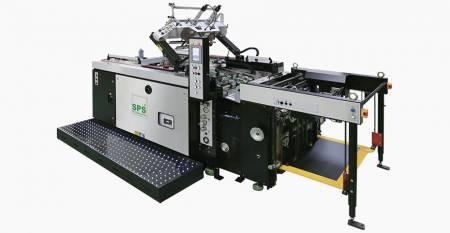 SPS全自动停止缸丝网印刷机(MAX。薄片550x750mm,倾斜屏升降机,Primeline Luxury类) -  SPS VTS XP57 / P全自动停止缸丝网印刷机(倾斜屏升降机型,Primeline Luxury Class),与喂食器相连