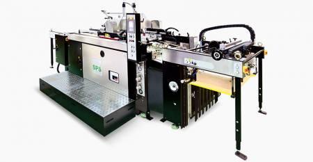 SPS helautomatisk tvilling-flöde STOPP Cylinder Screen Printing Machine (max ark: twin-flow 550X267mm, single-flow 550X750mm, tilt screen lift, primeline luxury class) - SPS VTS XP57 / t helautomatisk tvillingflöde STOPP Cylinder Screen Printing Machine (tilt-screen lift type), kopplad till dubbelflödesmatare