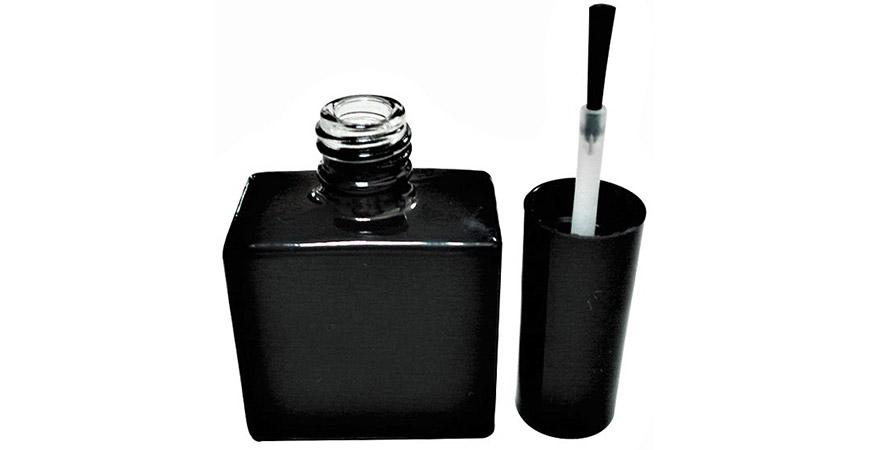 GH03 651BB: Botella de esmalte de gel vacía de vidrio de forma cuadrada plana de 15 ml