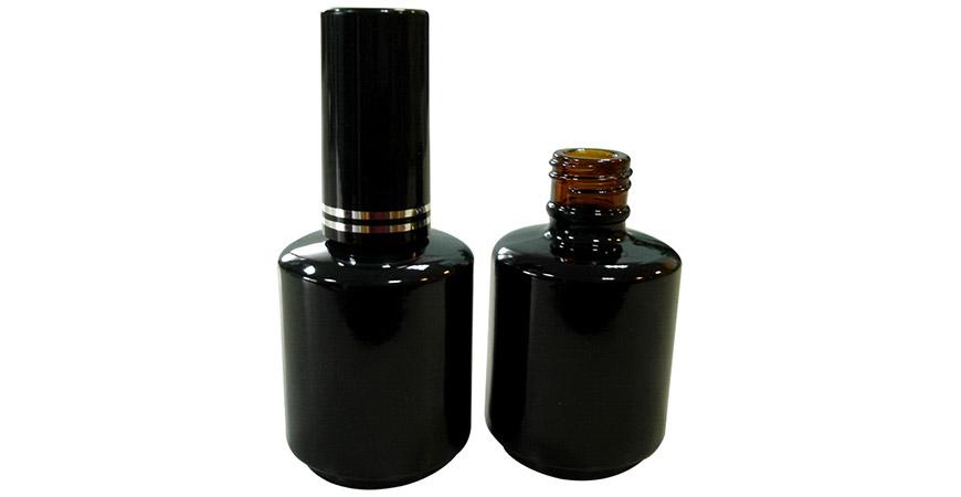 GH12H 696ABB : Flacon en verre ambré de 15 ml enduit de noir pour vernis à ongles en gel UV LED