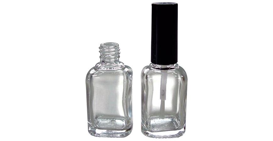 GH03 713: Bouteille d'huile à ongles en verre de forme rectangulaire de 13 ml avec brosse à capuchon