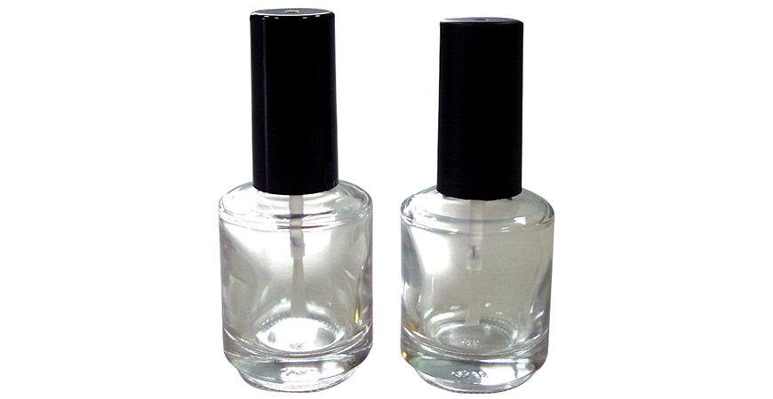 GH12 696: Bouteille de vernis à ongles en verre transparent de forme ronde de 15 ml