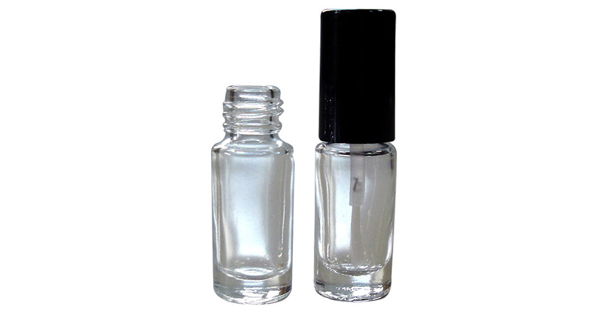 GH08 666: 3ml Cylindrical Shaped Clear Glass Nail Polish Bottle