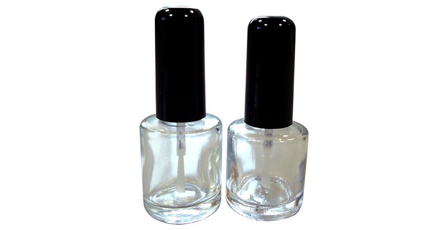 GH26 612 - GH26 660: Bouteille de vernis à ongles en verre transparent de forme ronde de 10 ml et 8 ml