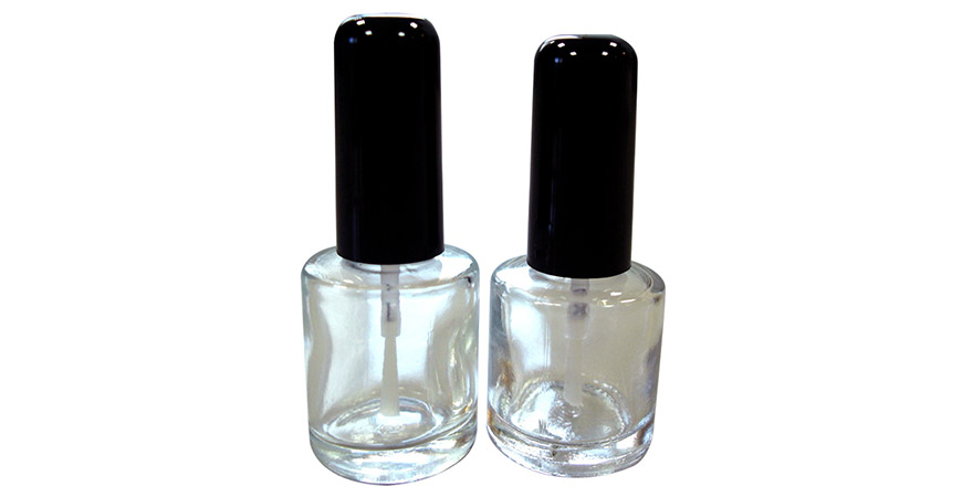 GH26 612 - GH26 660: 10ml and 8ml Round Shaped Clear Glass Nail Polish Bottle